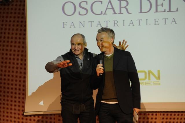 Aldo Rock e Linus sul palco dell'Oscar del Triathlon 2013, la 1^ edizione dell'attuale Gala del Triathlon